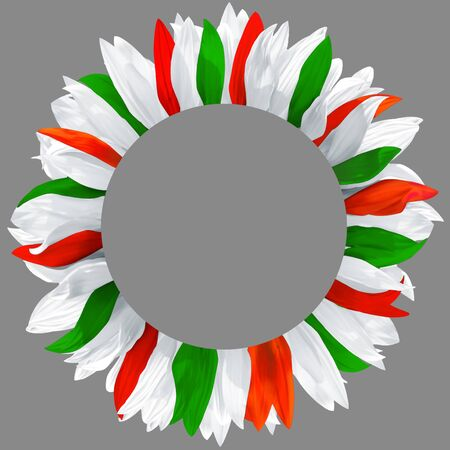 Circle frame, decorated with petals in colors of Hungary, Belarus, Bulgaria flags. Wreath made of green, red and white petals Stockfoto
