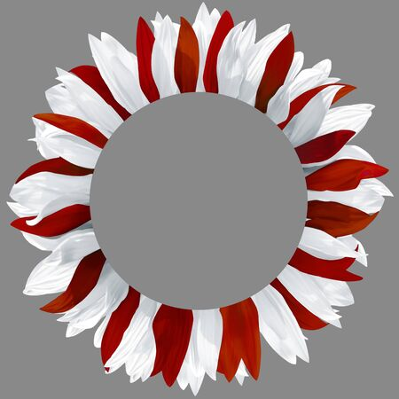 Circle frame, decorated with petals in colors of Latvia flag. Wreath made of white and dark red petals 版權商用圖片