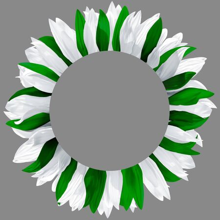 Circle frame, decorated with petals in colors of Saudi Arabia, Pakistan flag. Wreath made of white and green petals