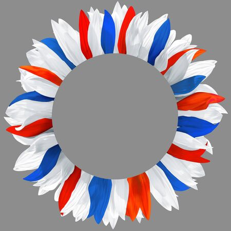 Circle frame, decorated with petals in colors of Slovenia, Slovakia, Czech, Costa Rica, Cuba, Croatia, Chile, Panama, Paraguay, Russia, Luxembourg, Thailand flags. Wreath made of light blue, red and white petals