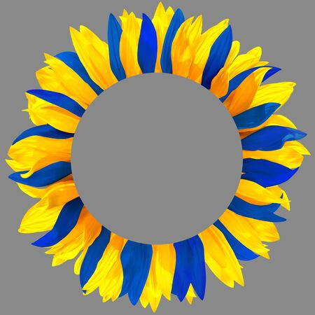 Circle frame, decorated with petals in colors of Sweden, Ukraine flags. Wreath made of blue and yellow petals