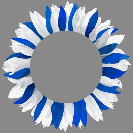 Circle frame, decorated with petals in colors of  Finland, Israel, Greece, Nicaragua flags. Wreath made of white, and blue petals