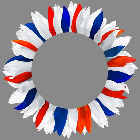 Circle frame, decorated with petals in colors of  France, Great Britain, Netherlands, Iceland, Norway, Australia, New Zealand, Thailand flags. Wreath made of white, red and blue petals