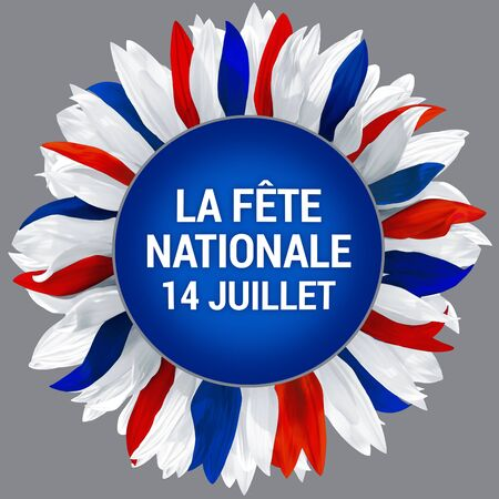 National day of France. Circle frame, decorated with petals in colors of France flag. Bastille Day. Wreath made of white, red and blue petals.