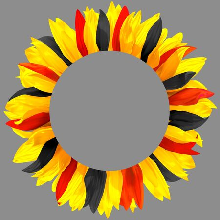 Circle frame, decorated with petals in colors of Germany, Belgium flags. Wreath made of yellow, red and black petals