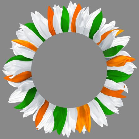 Circle frame, decorated with petals in colors of Ireland, Cyprus, India flags. Wreath made of green, orange and white petals