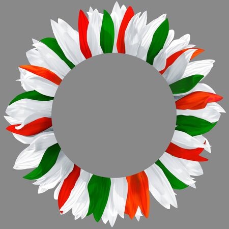Circle frame, decorated with petals in colors of Italy, Mexico flag. Wreath made of green, red and white petals Stockfoto