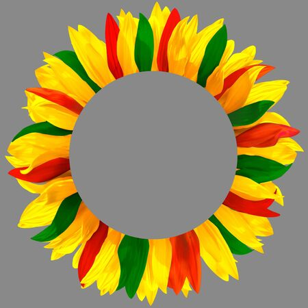 Circle frame, decorated with petals in colors of Lithuania, Portugal, Bolivia flags. Wreath made of yellow, red, green petals Stockfoto