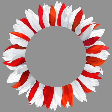 Circle frame, decorated with petals in colors of Austria, Poland, Denmark, Canada, Georgia, Japan, Monaco, Malta, Switzerland, Turkey, Peru flags. Wreath made of white and red petals