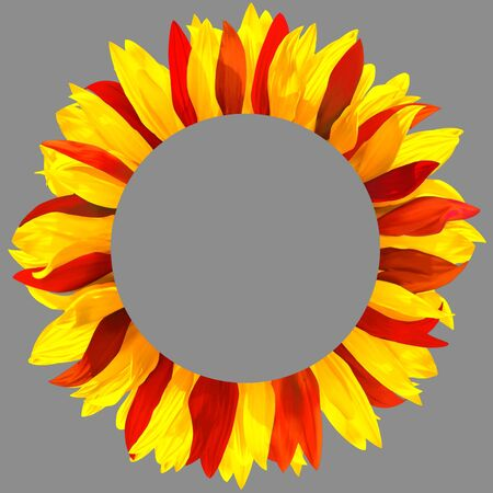 Circle frame, decorated with petals in colors of Spain, Montenegro, Macedonia, China, Vietnam flags. Wreath made of red and yellow petals