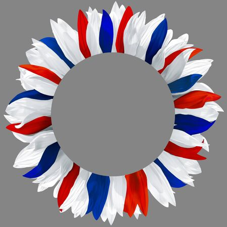Circle frame, decorated with petals in colors of USA flag. Wreath made of white, red and blue petals