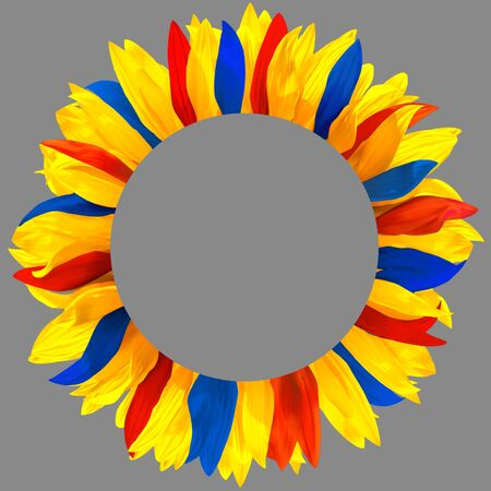 Circle frame, decorated with petals in colors of Romania, Moldova, Armenia, Andorra, Venezuela, Colombia, Ecuador flags. Wreath made of yellow, red, blue petals