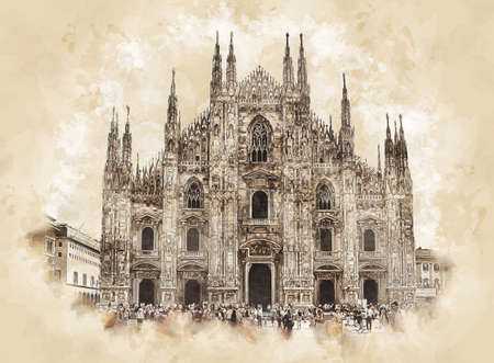Milan Cathedral sketch drawing. Duomo di Milano and Piazza del Duomo in Milan, Lombardy, Italy