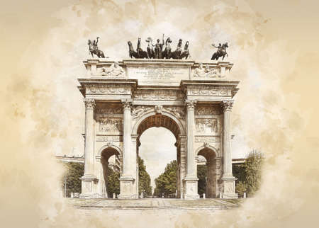 Arch of Peace in Sempione Park, Milan, Lombardy, Italy. Arco della Pace aka Porta Sempione in Milan, sketch drawing