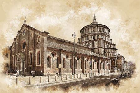 Santa Maria delle Grazie church in Milan, Italy. Sketch drawing of Santa Maria delle Grazie church