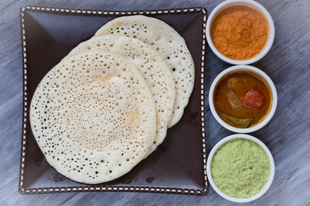 dosa: South Indian Break fast  Set of three dosa with samabar and chutney Stock Photo