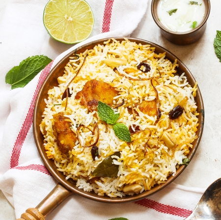 Fish Biryani Indian style fish and rice with spicy masala and color