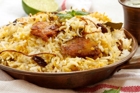 indian animal: Fish Biryani Indian style fish and rice with spicy masala and color