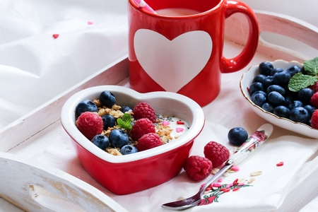 Valentines day breakfast fruits and coffee