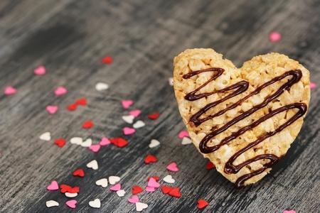 shaped: Heart shaped homemade Rice crispy treats