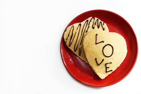 shaped: Heart shaped pancake for Valentines day love