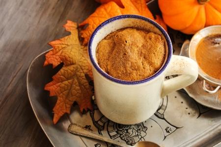 Pumpkin latte mug cake made in microwave easy cake