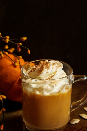 Pumpkin spice latte for halloween and thanksgiving fall season dring Stock Photo