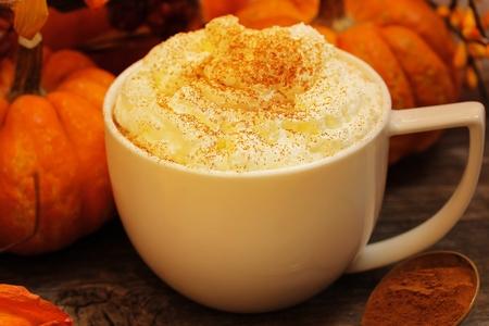 calabaza: Calabaza con leche de especias para Halloween y la temporada de otoño de acción de gracias del anillo en D Foto de archivo