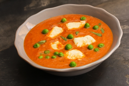 pooja: Paneer Butter masala with mutter Indian Curry - Indian Cottage cheese cooked in a tomato gravy with green beans