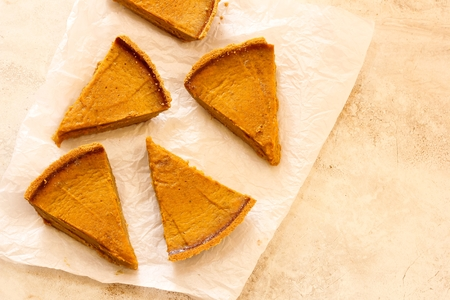 pumpkin pie: Pumpkin  pie slices on white background top View