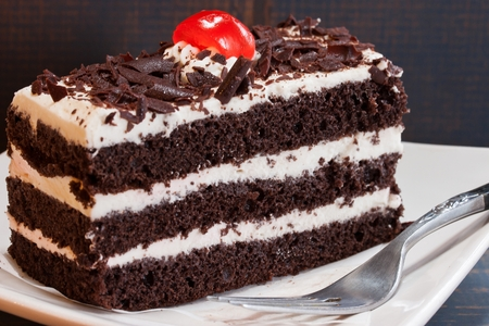 black forest: Close up of German Black forest cake on white background Stock Photo