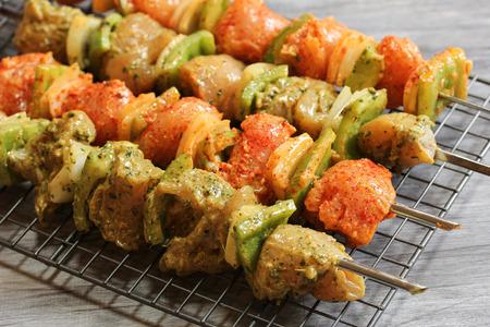 seekh: Chicken Ticka Kebab on skewers ready for grilling