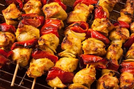 seekh: Indian Grilled chicken tikka kebabs  on skewers