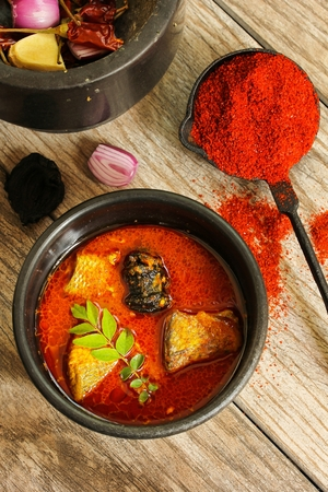 molly fish: Spicy Indian Fish curry in coconut milk top view