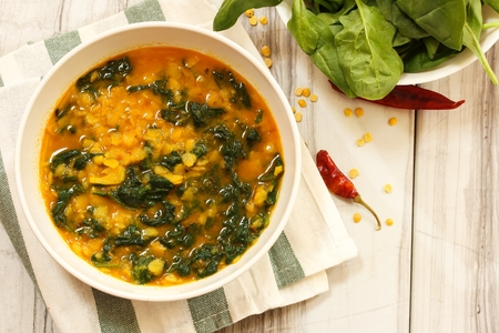 Dal Indian lentil curry soup with spinach -Palak dal