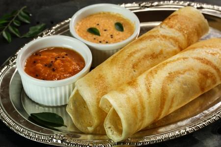 chutney: Masala Dosa with chutney, south Indian breakfast