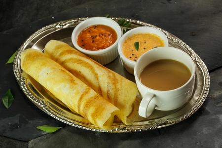 dosa: Dosa with Sambar and chutney, south Indian breakfast Stock Photo