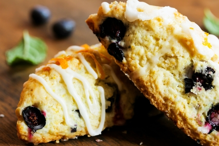 scone: Homemade Blueberry scone breakfast close up Stock Photo