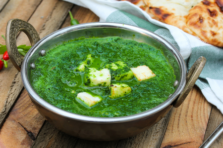 paneer: Palak paneer spinach Curry Indian Food in Kadai pan