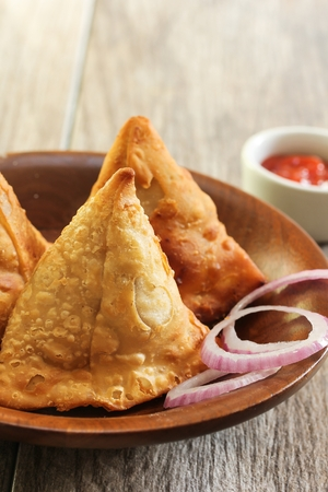 chaat: Homemade Samosas Indian Food close up view