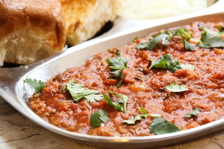 Pav bhaji Masala Indian street food on steel plate