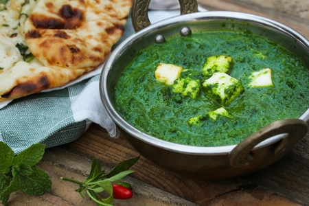 Palak paneer spinach Curry Indian Food in Kadai pan
