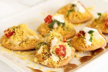 sev: Dahi Batata Puri  Indian Chaat- Popular Maharashtrian street food, selective focus