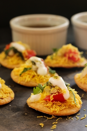 marathi: Dahi Batata Puri  Indian Chaat- Popular Maharashtrian street food, selective focus