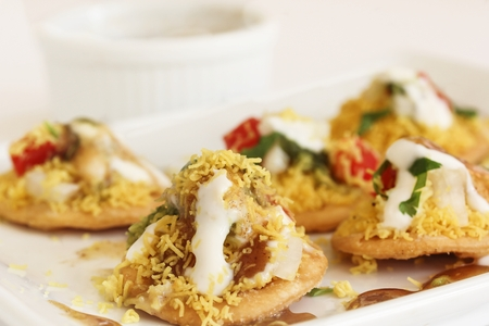Dahi Batata Puri  Indian Chaat- Popular Maharashtrian street food, selective focus