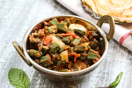 Bhindi Masala  Okra Fry - Popular Indian side dish with okra tomatoes and spices