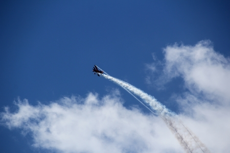 roaring sea: Air show  performed above sea, selective focus Stock Photo