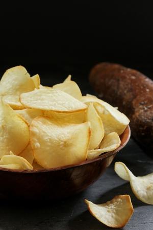 Yucca chips  Tapioca fries - Kerala snacks, selective focus