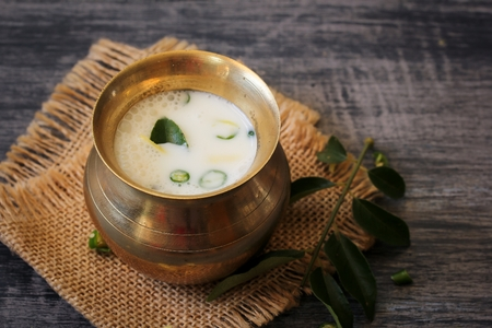 Spiced buttermilk  Sambaram -Refreshing summer drink with buttermilk, selective focus