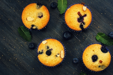 moody background: Homemade Blueberry yogurt Muffins on dak moody background